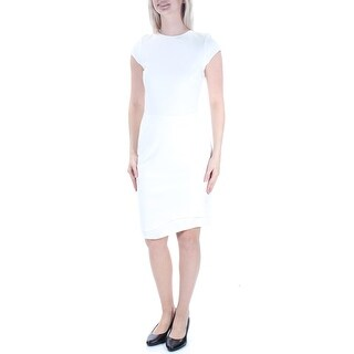 Womens Ivory Short Sleeve Knee Length Sheath Wear To Work Dress Size: S