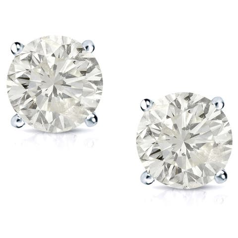 Auriya 1 1/2ctw Clarity-enhanced Round Diamond Stud Earrings Platinum