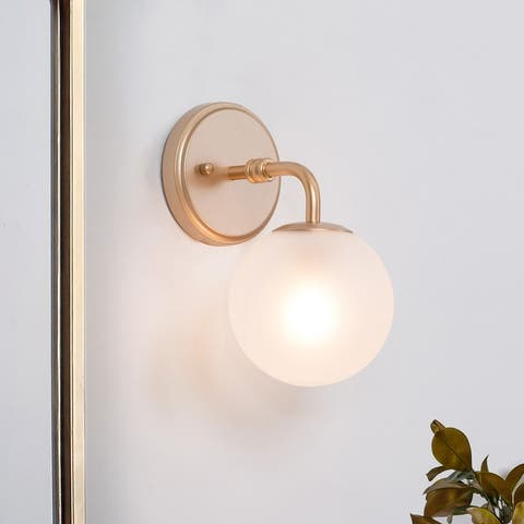 """Modern Glam Antique Gold Sconce Frosted Glass Shade for Bedroom Powder Room - L5.5""""x W7.5""""x H10"""""""