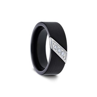 LIAM Flat Black Satin Finished Tungsten Carbide Band Diamond 8mm