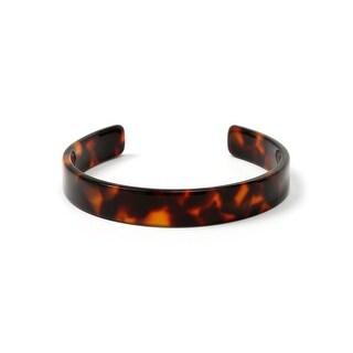 Bling Jewelry Acrylic Tortoise Shell Thin Brown Cuff Bracelet