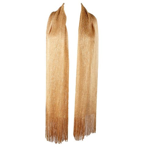 DBFL Ladies Metallic Shimmery Fringed Mesh Evening Scarf - One Size Fits Most