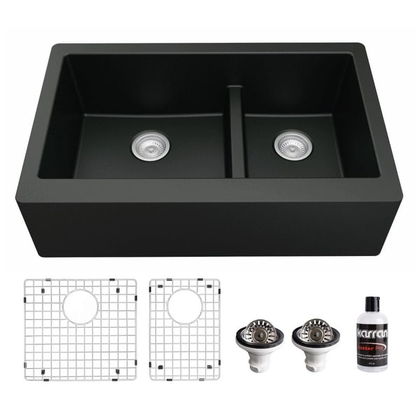 Karran Farmhouse/Apron-Front Quartz Double Bowl Kitchen Sink Kit. Opens flyout.