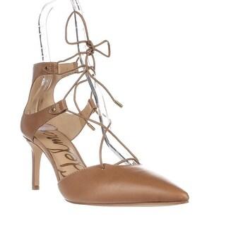 Sam Edelman Taylor Lace Up Dress Pumps - Camel