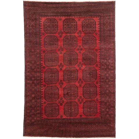 ECARPETGALLERY Hand-knotted Khal Mohammadi Black, Burgundy Wool Rug - 6'2 x 9'2