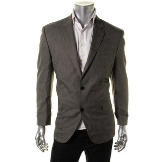 Andrew Fezza Mens Checkered Notch Collar Two-Button Suit Jacket