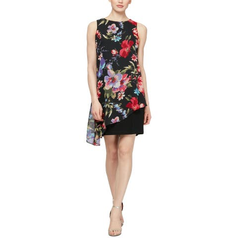 SLNY Womens Shift Dress Black Multi Size 4 Floral Chiffon Popover