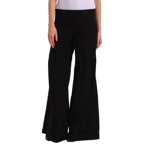 XCVI Women's Pants Black Size Small S Foldover Waist Wide-Leg Stretch