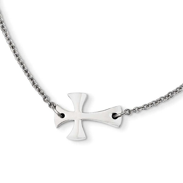 Chisel Stainless Steel Polished Sideways Cross Necklace (2 mm) - 16.75 in
