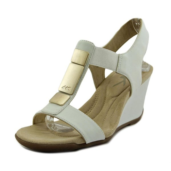 Anne Klein Loona Women  Open Toe Synthetic White Wedge Sandal