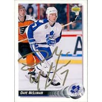 Signed McLlwain Dave Toronto Maple Leafs 1992 Upper Deck Hockey Card autographed