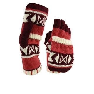 American Rag Women's Tribal Convertible Knit Gloves (One Size, Maroon Combo)