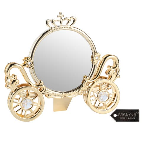 Matashi 24K Gold Plated Double Sided Cinderella Princess Coach Mirror Embellished with Crystals