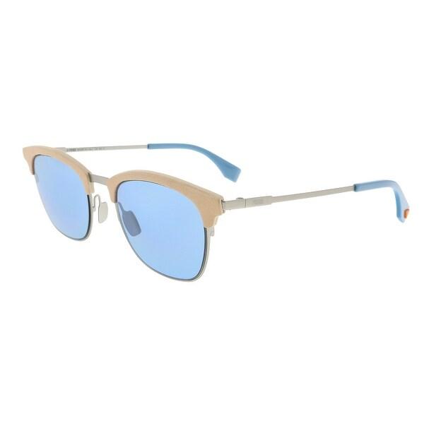637b2ecd Shop Fendi FF0228/S 0SCB Silver Blue Rectangle Sunglasses - 50-21 ...
