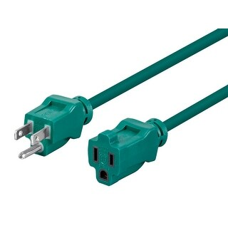Monoprice 12ft 16AWG Green Outdoor Power Extension Cord, 13A (NEMA 5-15P to NEMA 5-15R)