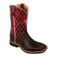 Twisted X Boots Children's YCW0005 Chocolate/Red Leather