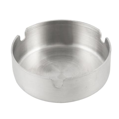 """3.1"""" Diameter Silver Tone Round Stainless Steel Ash Tray Holder"""