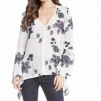 Karen Kane White Women's Size XL Floral Embroidered Hi-Lo Blouse