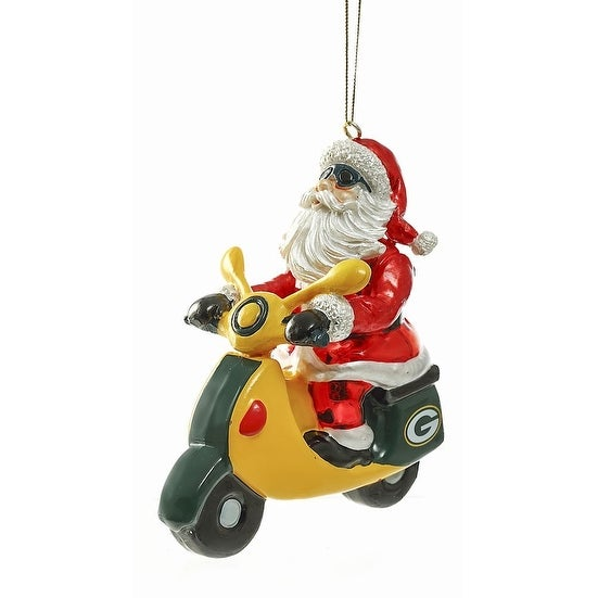 Green Bay Packers Santa on a Scooter Ornament