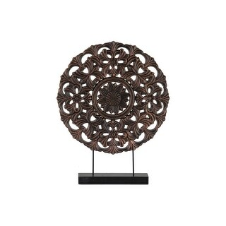 Floral Patterned Round Wooden Wheel Ornament On Rectangular Stand, Large, Bronze