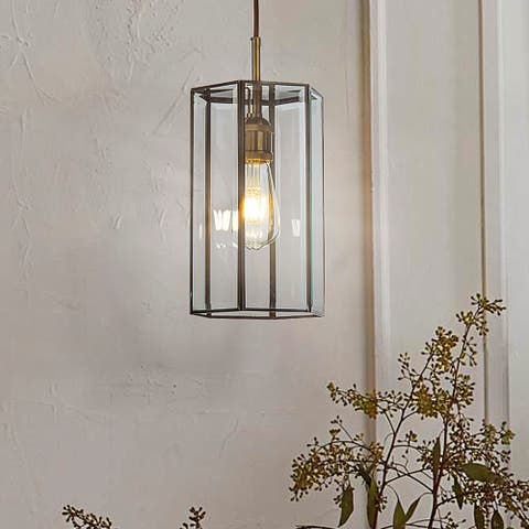 Antique Coffee Painting Lantern Geometric Pendant Lamp with Handmade Clear Glass