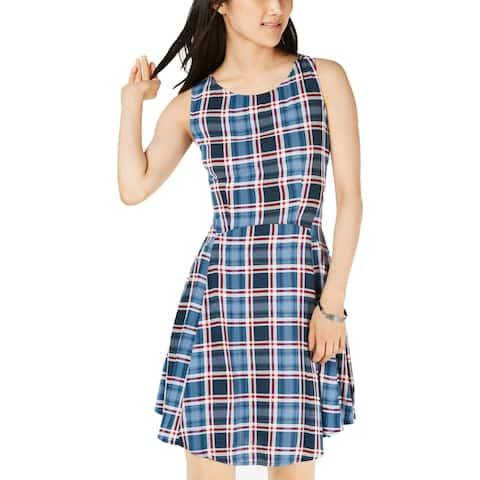 Be Bop Womens Juniors Casual Dress Plaid Sleeveless