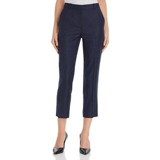Theory Womens Tailor Pants Wool Straight Leg - Navy Sapphire Stripe
