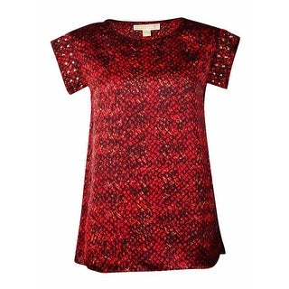 MICHAEL Michael Kors Women's Embellished Printed Blouse (XS, Chili)