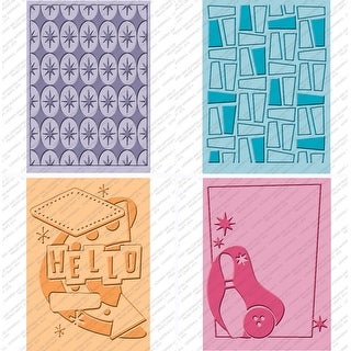 "Cuttlebug Cricut Companion Embossing Folders 4/Pkg-Nifty 50s (2) 5""X7"" & (2) A2"