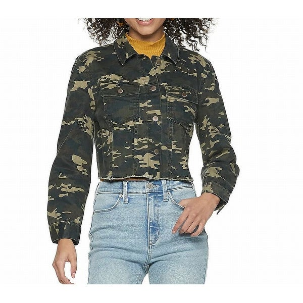 Tinsel Town Green Beige Womens Size XL Camouflage Denim Jacket