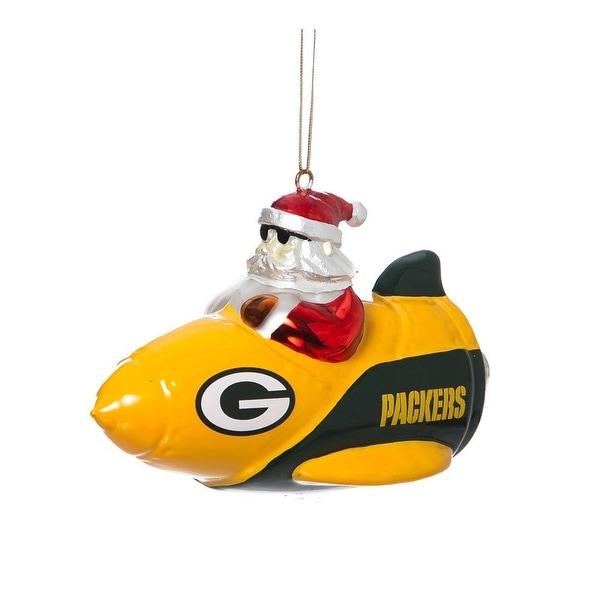 Green Bay Packers Santa on a Rocket Ship Ornament