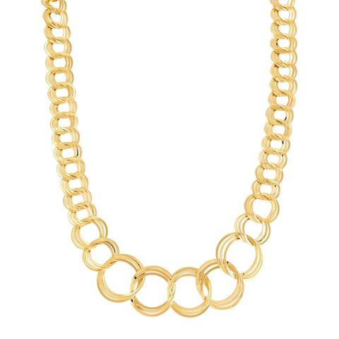 """Italian-Made Multi-Circle Link Necklace in 18K Gold-Plated Bronze, 18"""" - Yellow"""