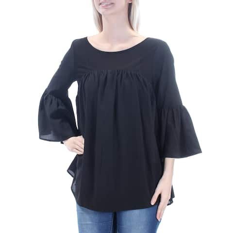 FRENCH CONNECTION Womens Black Bell Sleeve Jewel Neck Top Size: S