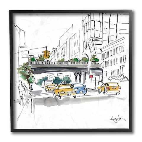 Stupell Industries City Taxi Underpass Urban Architecture Watercolor Framed Wall Art, 12x12
