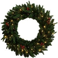"Celebrations FCFFWR-30-BOWW Prelit Christmas Wreath, 30"", Green"