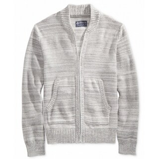 American Rag NEW Gray Mens Size Small S Mock-Collar Full Zip Sweater