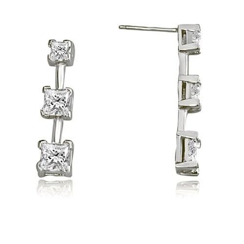 1.25 cttw. 14K White Gold Classic Three-Stone Princess Cut Diamond Earrings - White H-I