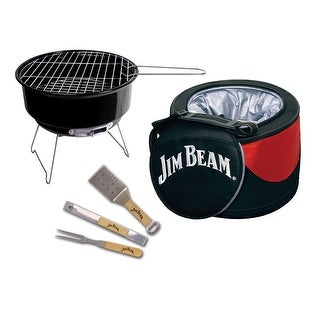 Jim Beam Portable 5 Piece Grilling Set Includes - Mini Charcoal Grill, 3 Grilling Tools and a Cooler Bag
