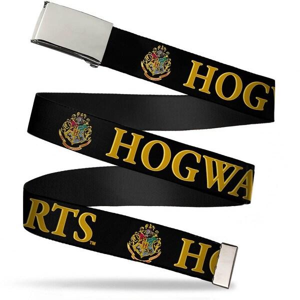 Blank Chrome Buckle Harry Potter Hogwarts & Crest Black Gold Webbing Web Belt