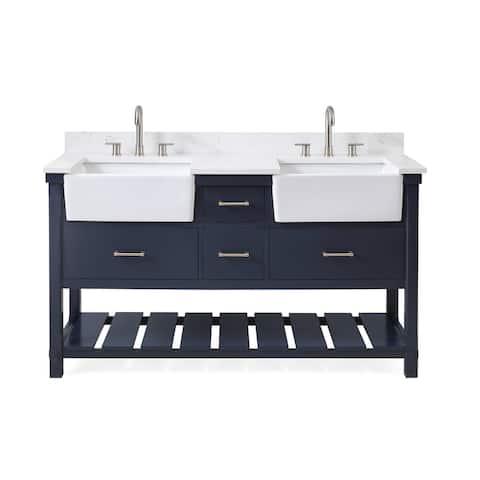 60-Inches Kendia Double Farmhouse Sink Bathroom Vanity