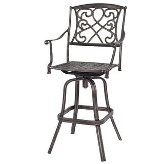 Costway Cast Aluminum Swivel Bar Stool Patio Furniture Antique Copper Design Outdoor