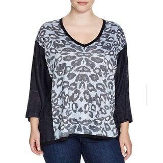Nally & Millie Womens Plus Blouse TUNIC Animal Print