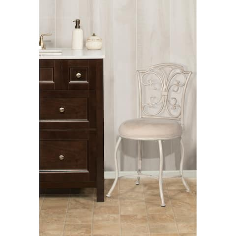 Copper Grove Annaly Cushioned Vanity Stool with Metal Scrollwork Back