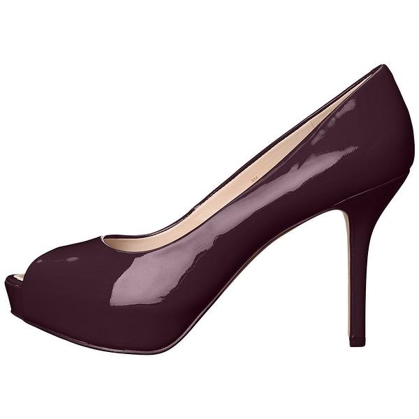 Nine West Womens Qtpie Leather Peep Toe Classic Pumps