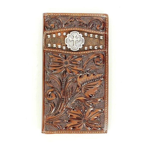 Ariat Western Wallet Mens Rodeo Floral Cross Leather Brown - One size