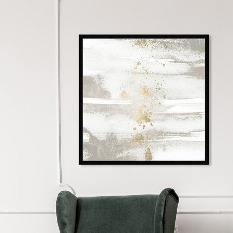 Oliver Gal 'Sun and Rain' Abstract Framed Wall Art Prints Paint - White, Gold