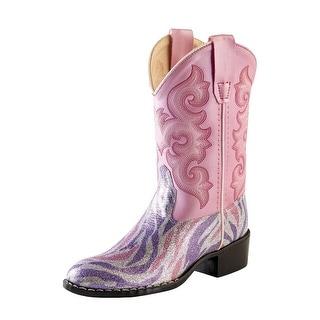Old West Cowboy Boots Girls Kids Zebra Broad Square Purple Pink