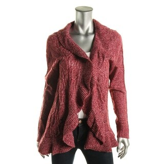 Karen Scott Womens Marled Ruffled Trim Cardigan Sweater