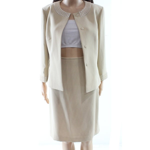 2a76bd061f725 Tahari by ASL NEW Beige Women  x27 s Size 8 Embellished Buttoned Skirt Suit