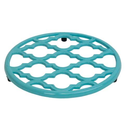 "Home Basics Turquoise Soft Non-Skid Rubber Peg Feet Cast Iron Trivet - 8"" x 8"" x 0.5"""